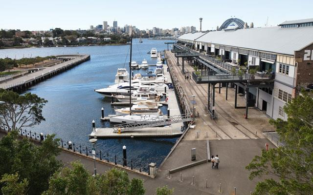 Harbour views from Jones Bay Wharf in Pyrmont.