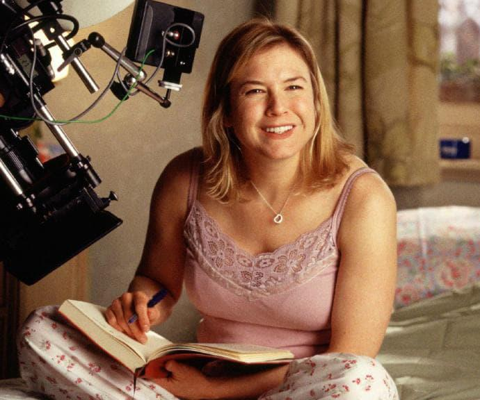 Renee Zellweger on set as Bridget Jones.
