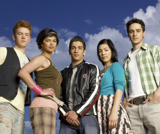 The baby-faced cast of the original Power Rangers series, which aired in 2006. Melanie is pictured second from the right.