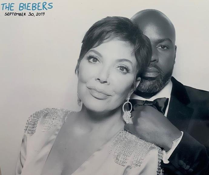 Kris Jenner with her partner Corey Gamble at the Biebers' wedding.