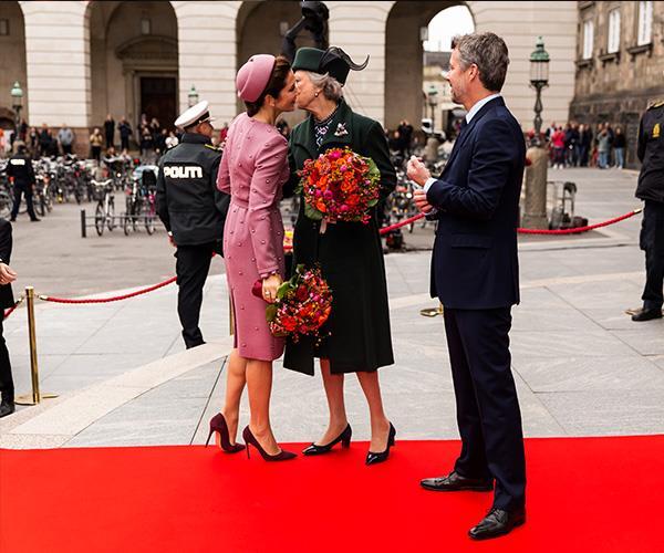 Crown Princess Mary greets Princess Benedikte.