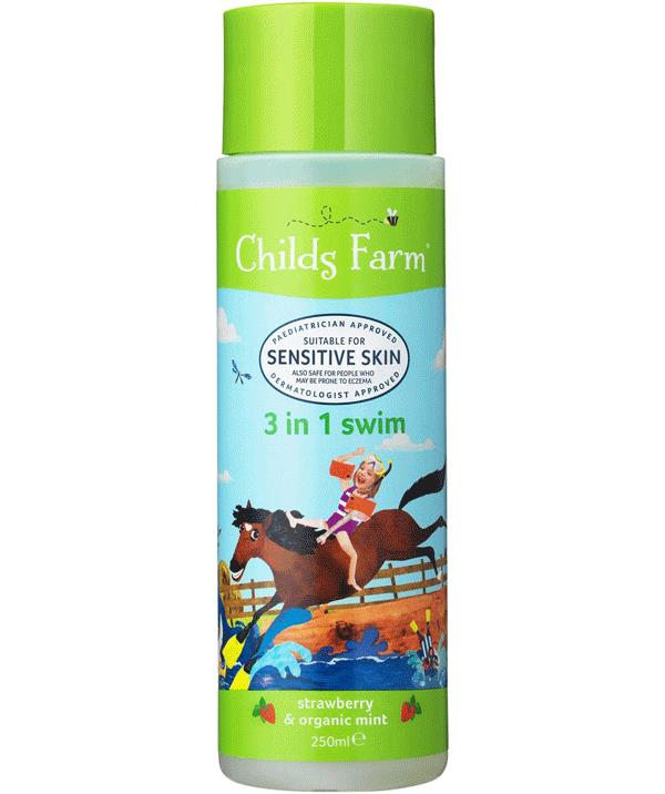 Childs Farm 3 in 1 Swim product will wash away chlorine, moisturise skin and help detangle your child's hair.