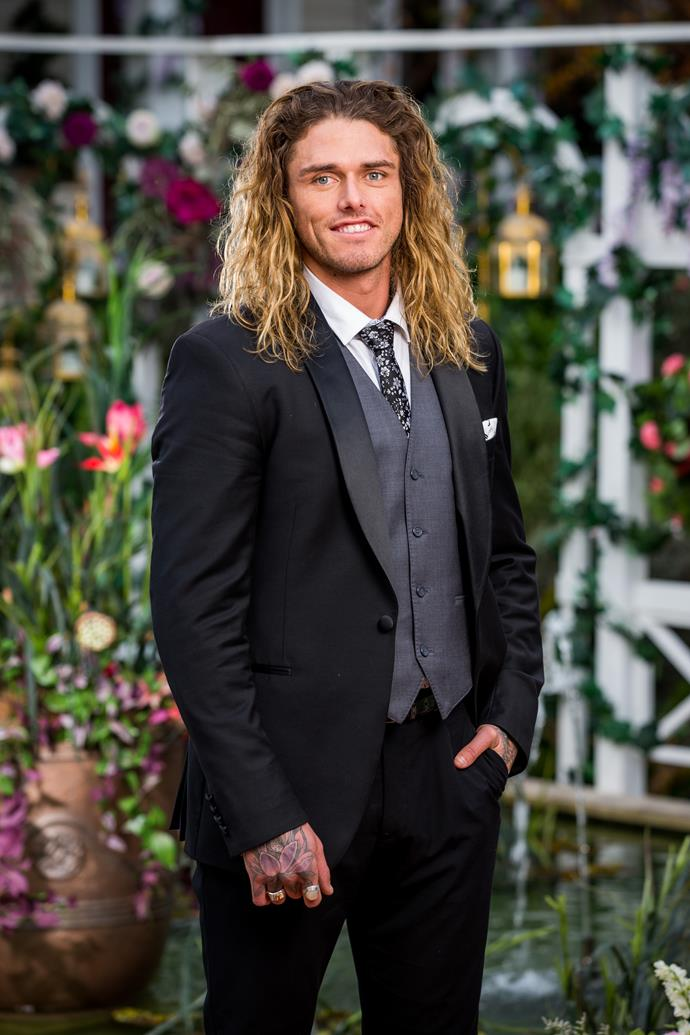 "**Timm, Fireproofer, 27, Victoria** <br><br> In a new promo shared on Wednesday night, Timm is seen dazzling Angie on the red carpet with a HUGE bunch of sunflowers. <br><br> ""Does he know that my favourite flower is sunflower?"" Angie exclaims. <br><br> The Bachelorette then reveals why she's so taken by Timm, saying ""if I see a sunflower, to me that's a sign from my Nanny that I'm in the right place! And you've got me a whole bunch!"" <br><br> Looks like Timm is off to a sunny start!"
