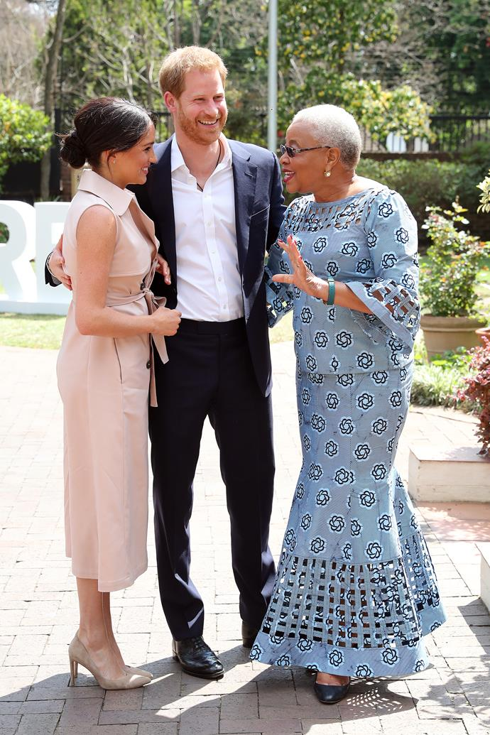 Harry and Meghan chatted with humanitarian and Nelson Mandela's widow Graça Machel,