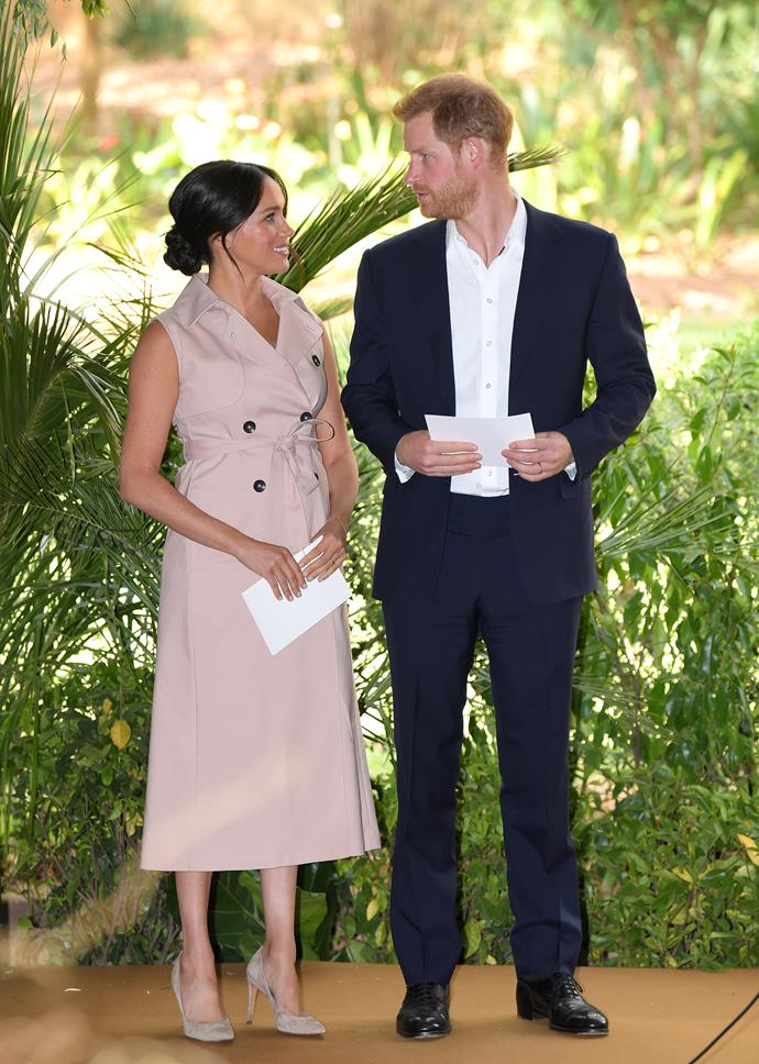 For her final engagement of the royal tour,  Duchess Meghan recycled her blush pink House of Nonie dress.