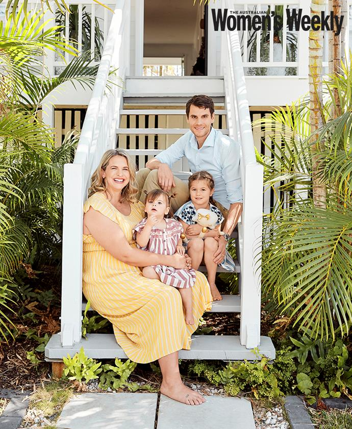 The happy family: Libby and Luke with their daughters Edwina and Poppy.
