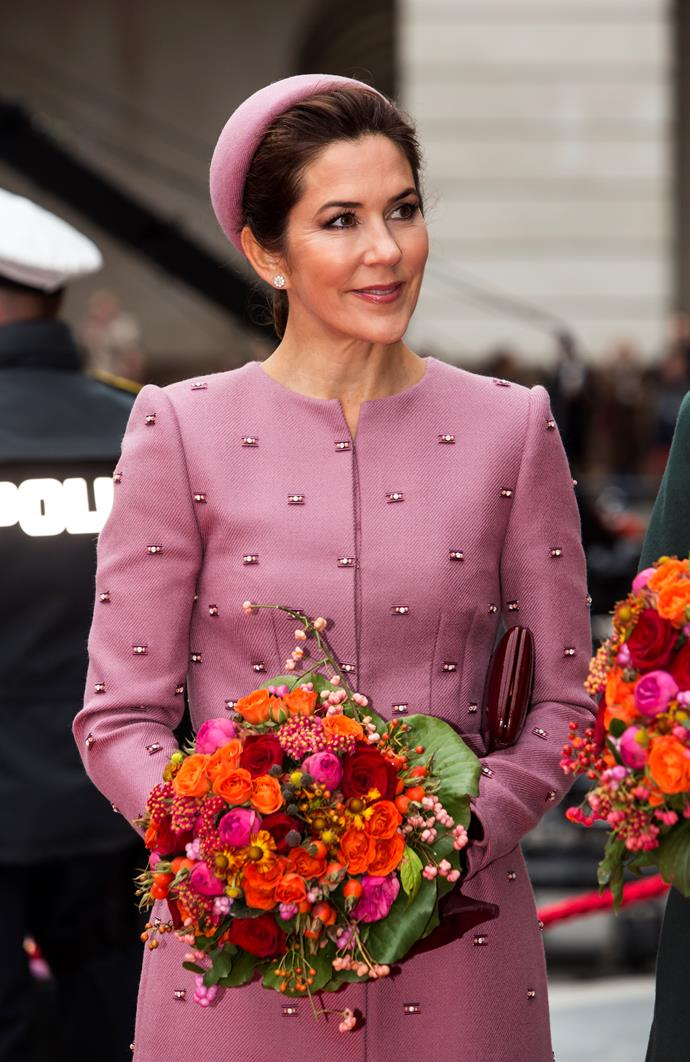 "**October 2019, Denmark**  <br><br> Jackie Kennedy reborn! The Crown Princess [channelled sixties chic](https://www.nowtolove.com.au/fashion/fashion-news/crown-princess-mary-jackie-kennedy-59554|target=""_blank"") at the official opening of the Danish Parliament."