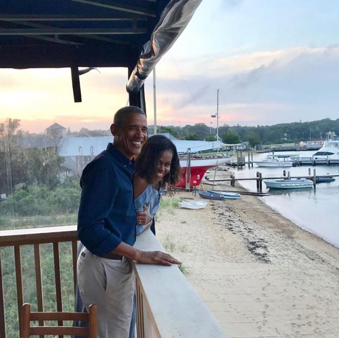 "Michelle's heartfelt post read: ""27 years ago, this guy promised me a life full of adventure. I'd say he's delivered. Here's to our next chapter of becoming empty nesters and discovering what's next—while still feeling the magic that brought us together all those years ago. Happy anniversary, Barack. 💕"""