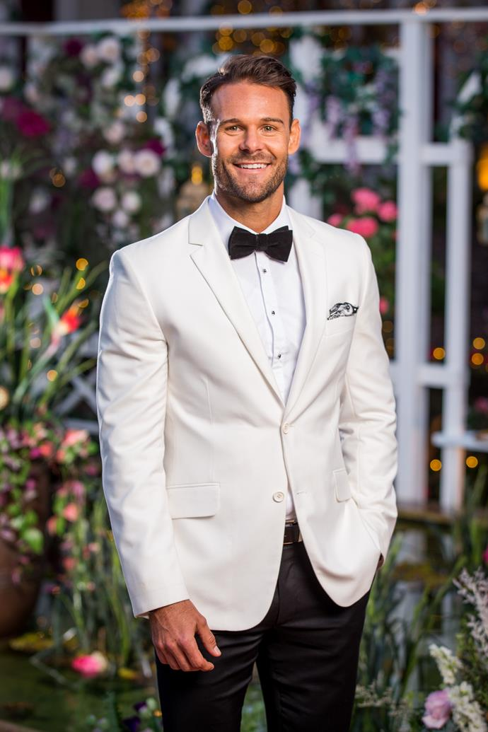 **Carlin, Fitness Trainer, 30, NSW** <br><br> If you couldn't already tell by the serious Prince Charming vibes here, Carlin is an old school romantic looking for his true love. He's open to the idea of marriage, with the right person. Could Angie be that person?