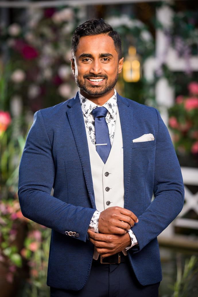 **Niranga, Aircraft Engineer, 28, Queensland** <br><br> Having played state and national rugby as well as cricket, sporty Niranga has a competitive streak that will boost his confidence in those early cocktail parties. Though he knows how to stand out in a room, he's also described as grounded and affectionate.