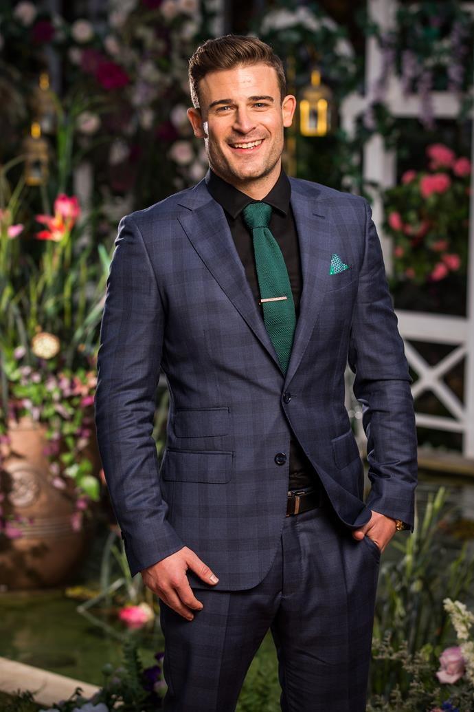 "**Tom, Cabin Crew, 31, Queensland** <br><br> Adventurous and charming, Tom hopes to win over Angie simply by ""being myself."" He reveals he applied for the show because Angie seems ""genuine, caring, adventurous and friendly."""