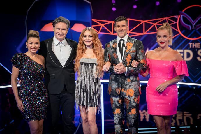 *The Masked Singer* crew: Dannii Minogue, Dave Hughes, Lindsay Lohan, Osher Gunsberg and Jackie O.