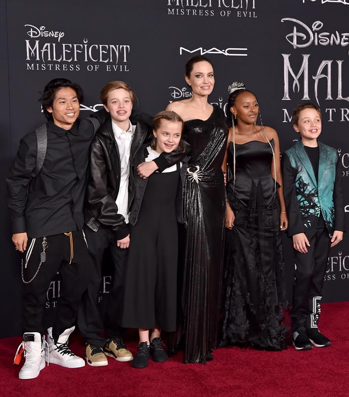Five out of six of Angelina's kids joined her at the world premiere of her newest movie *Maleficent: Mistress of Evil*.
