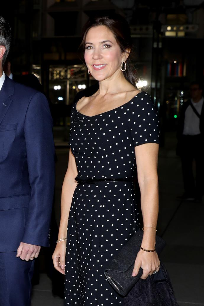 How chic does Mary look in polka dots? Answer: Very chic indeed.