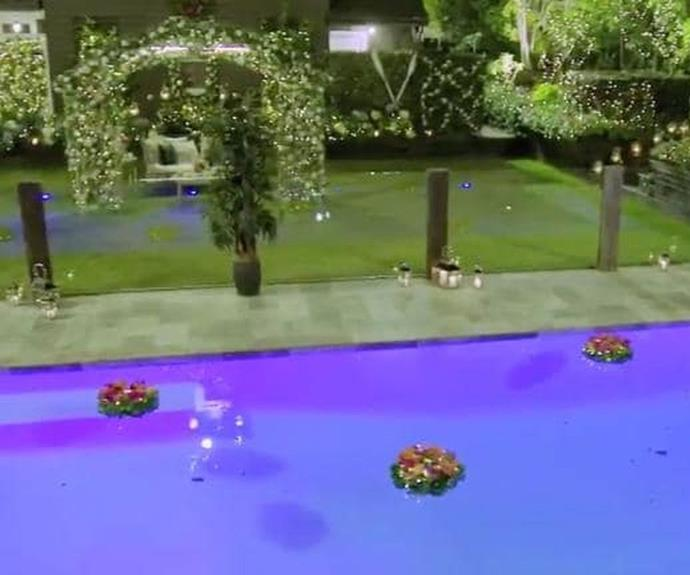 Channel 10's set designers love to spruce up the pool and the garden with extra flowers and fairy lights.