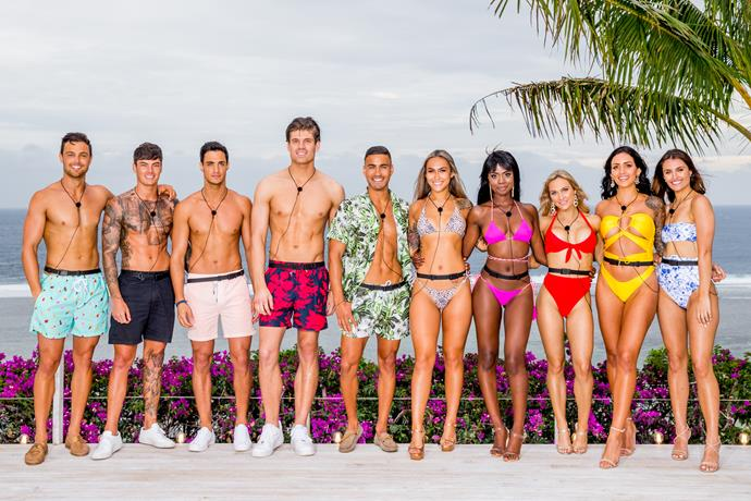 Maurice with his *Love Island* co-stars (Image: Nine Network)
