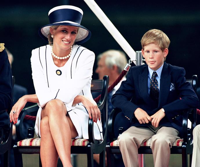 Princess Diana pictured with a young Prince Harry. Harry referenced his late mother in his powerful statement defending Meghan.