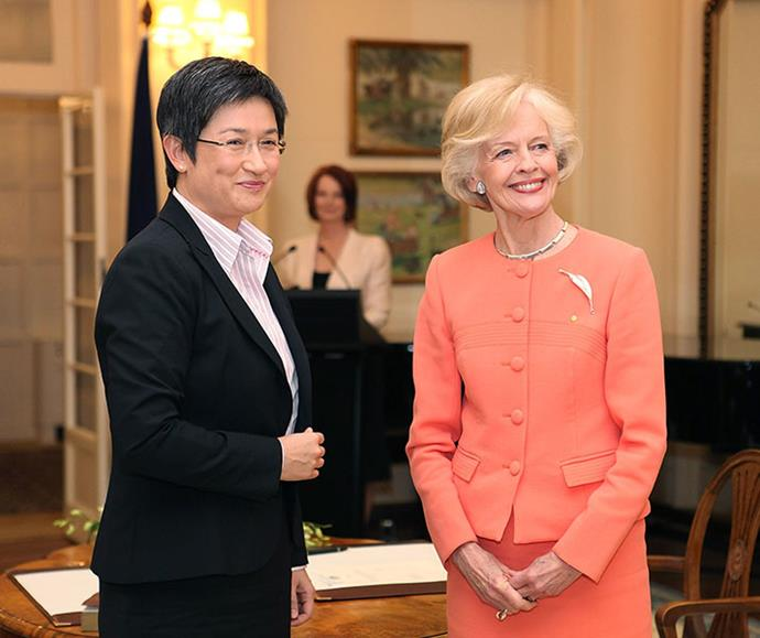 Penny Wong is sworn in as finance minister for the Gillard government by Dame Quentin Bryce, with then Prime Minister Julia Gillard looking on, in September 2010.