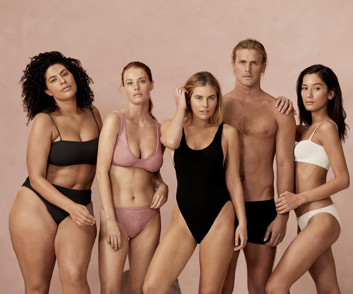 Jett (second from right) stars in ModelCo's new campaign alongside (L-R) Jessica Leahy, Madeleine Hunt,   Carissa Walford and Manahou Mackay.