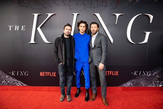 David Michôd, Timothée Chalamet and Joel Edgerton at the Sydney premiere of *The King* (Image: Netflix)