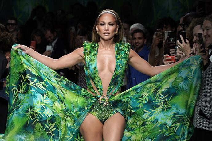 **Jennifer Lopez, 50** <br><br> J-Lo essentially broke the internet when she stepped out at Versace's latest runway show in Milan - *that* iconic green dress was one thing, but it was Jennifer's confidence, bravery and undeniable energy that really impressed us. What a woman!