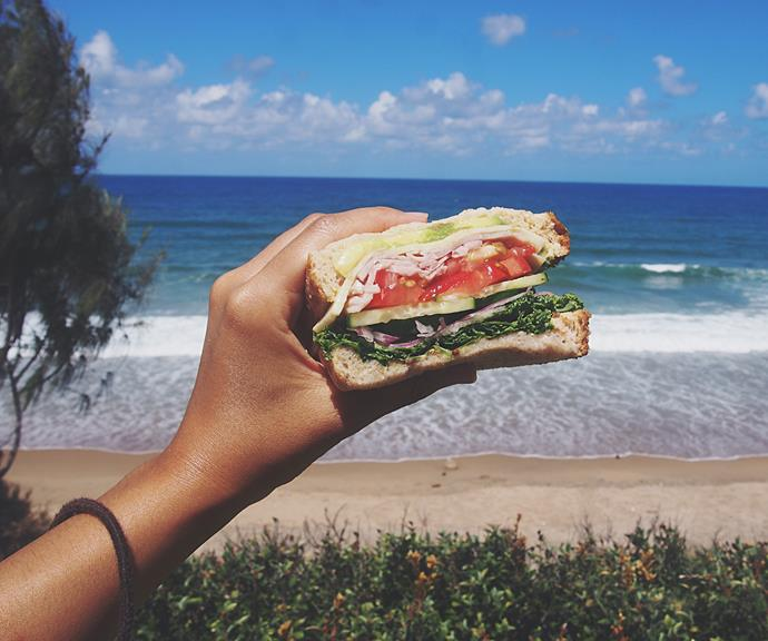 Eating two slices of wholegrain bread, packed with protein and salad vegetables is a great balanced lunch meal.