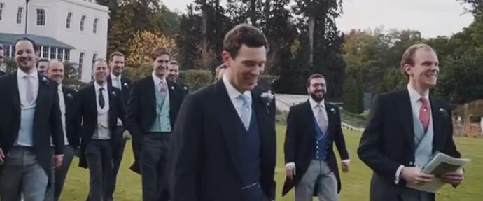 Jack's sizeable party of groomsmen feature in the clip.