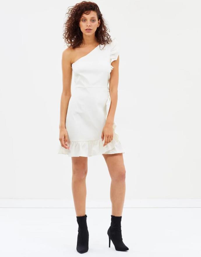 """J.Crew one-shoulder ruffle dress, $91.50. [Buy it via The Iconic here](https://www.theiconic.com.au/one-shoulder-ruffle-dress-603122.html