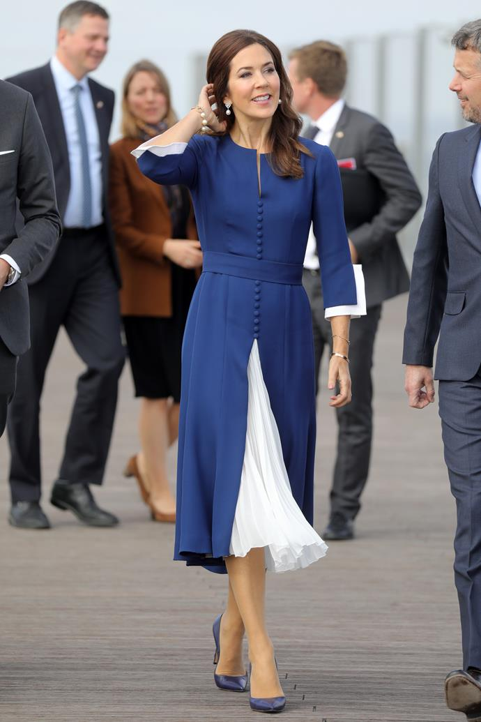 "**October 2019, Paris** <br><br> Parisian perfection! Crown Princess Mary kicked off a [three-day tour of Paris](https://www.nowtolove.com.au/women-of-the-future/the-weekly/crown-princess-mary-polka-dot-dress-59628|target=""_blank"") in October 2019 wearing this gorgeous blue and white midi dress."
