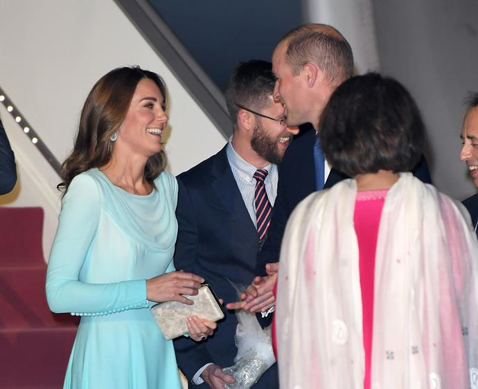 Kate and Wills shared a sweet moment as they exited the plane.
