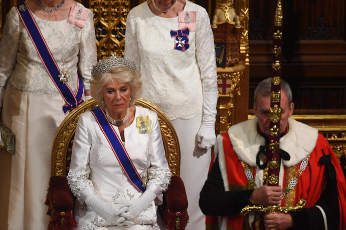 Duchess Camilla also looked incredible in a dazzling tiara for the State Opening of Parliament.