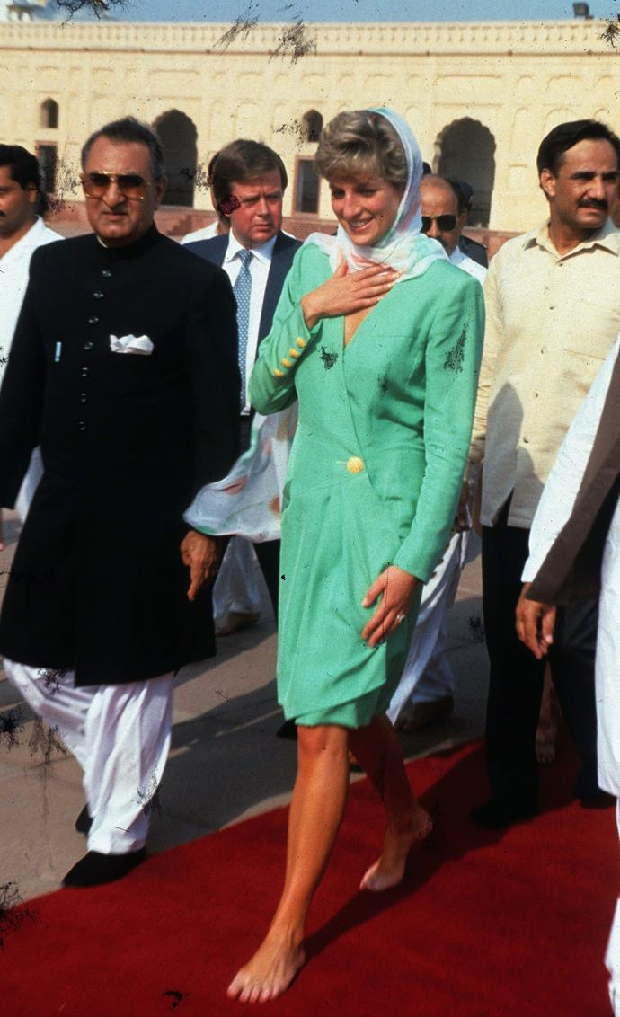 Diana wore many shades of green during her royal tour in Pakistan.