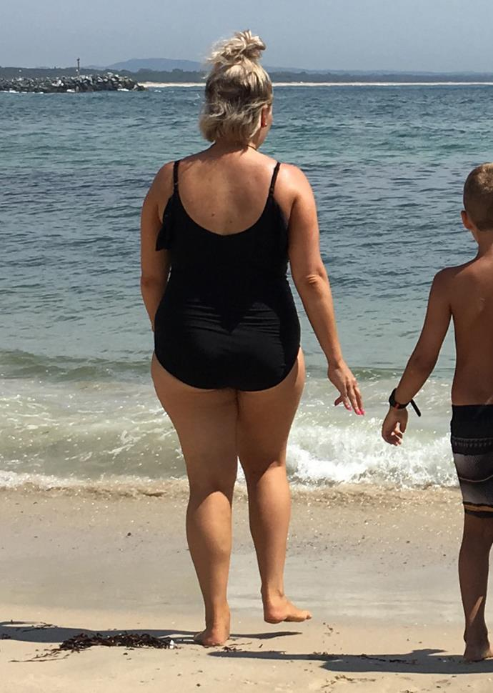 Nicole pictured at the beach last year.