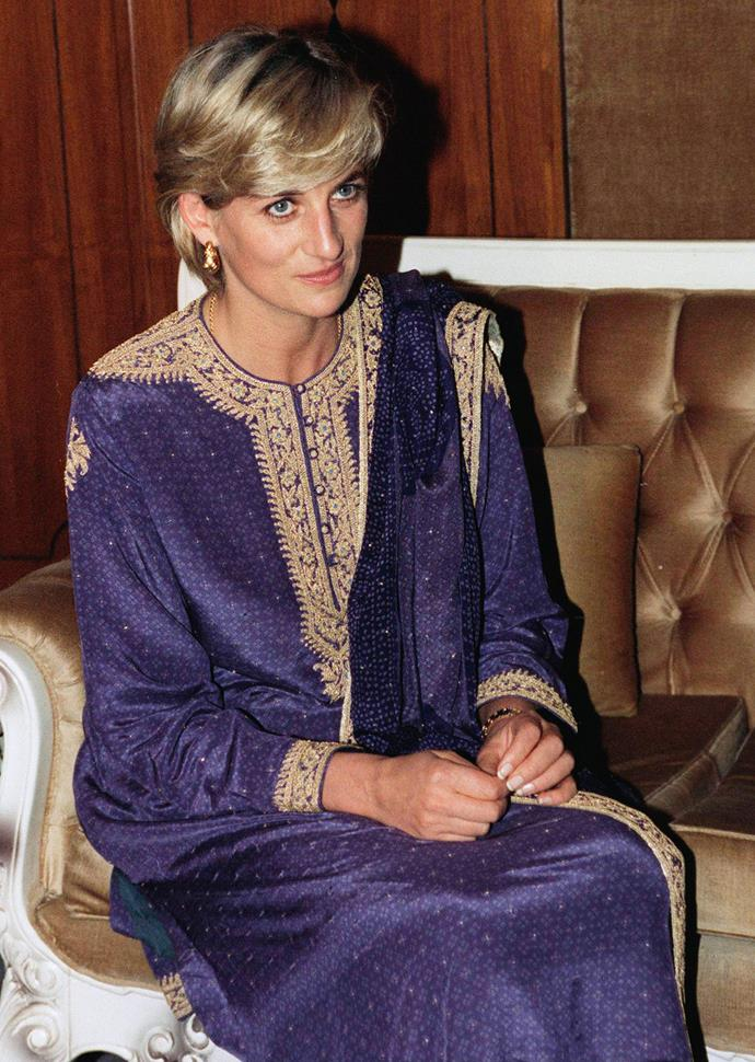 Diana wore a very similar purple outfit during her final visit to Pakistan in 1997.