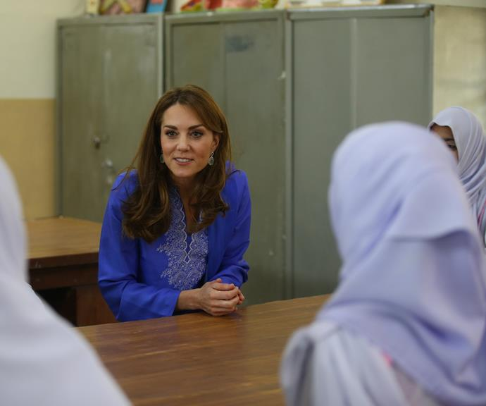 Kate spoke to young women at a school in Islamabad.