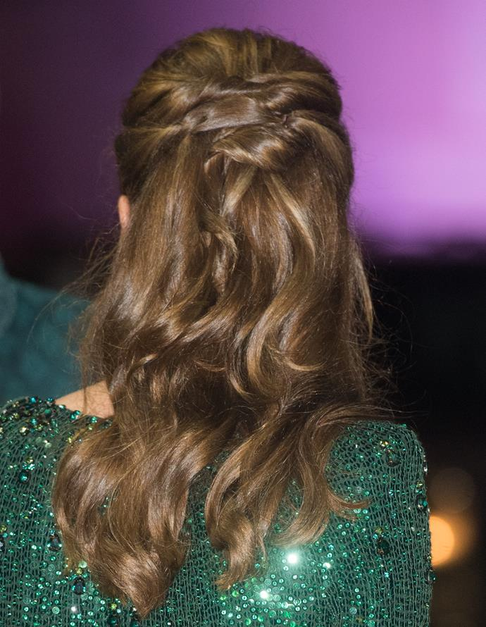 Kate's tresses were styled to perfection.
