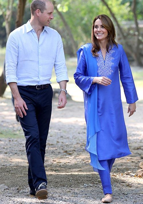 Made by local designer Maheen Khan, Kate's ensemble was perfect for her morning spent with William visiting a local school.