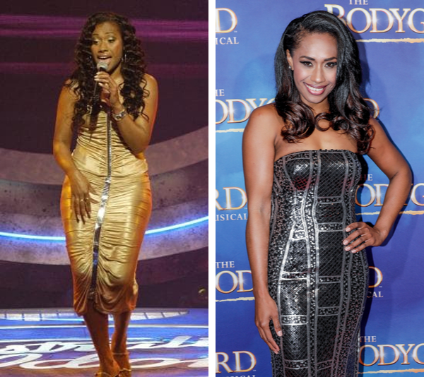 Paulini in 2003 on *Australian Idol* and in 2019, during the successful run of *Bodyguard*.