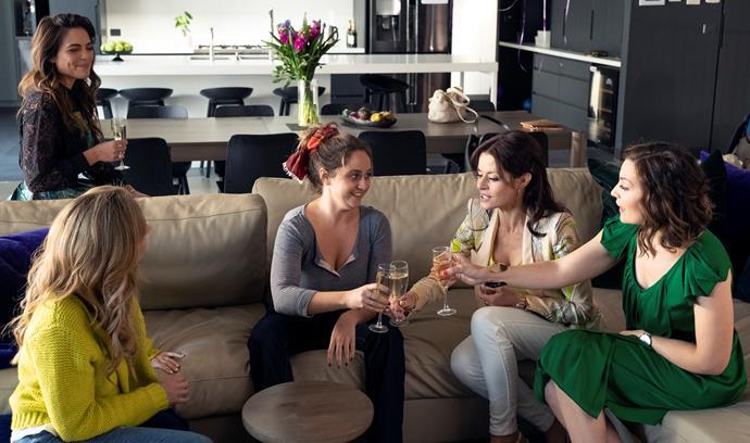 The ladies celebrate Paige's return.