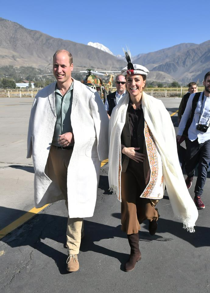 On the third day of their royal tour, Prince William and Duchess Catherine wore traditional clothing from the Chitral district.