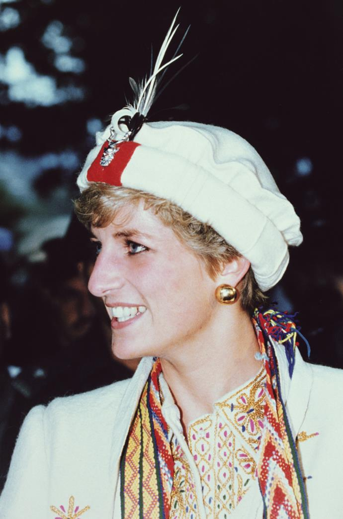 Princess Diana wore a similar coat and hat when she visited the province in 1991.
