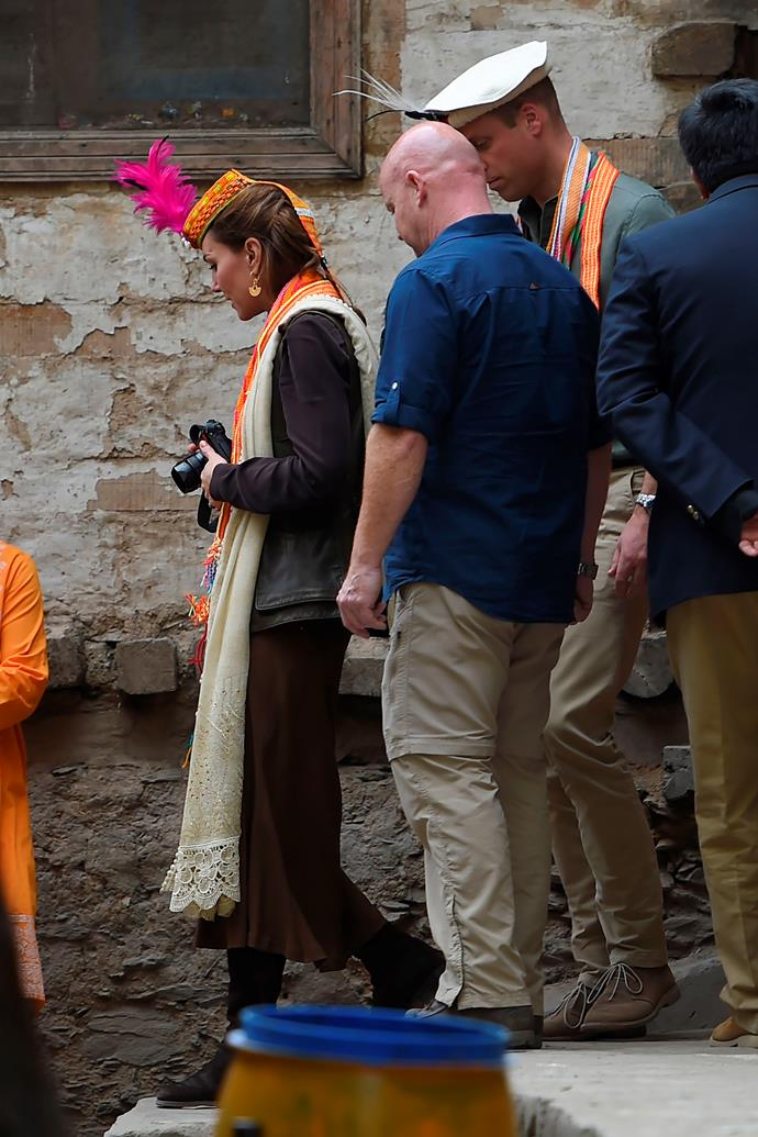 Kate was spotted holding her camera during a visit to the Kalash village in Chitral.