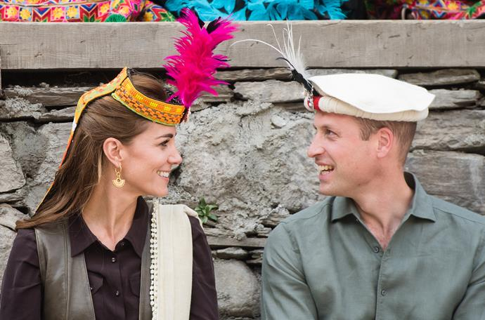Later in the day, the pair visited the beautiful Kalash village in Chitral, where Kate swapped her white hat for a much brighter one - they were in their element!