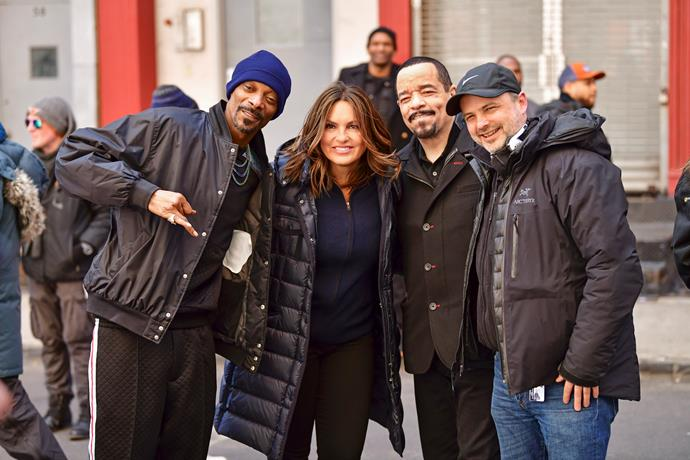 Guest star Snoop Dogg with Mariska Hargitay, Ice-T and director Alex Chapple.