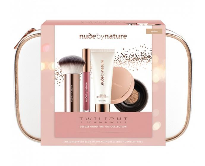 "**Nude By Nature Twilight Complexion Collection, $59.95 at [Priceline](https://www.priceline.com.au/brand/nude-by-nature/nude-by-nature-twilght-complexion-collection-medium-4-piece|target=""_blank""