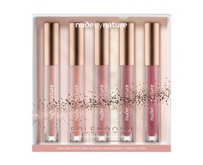 "**Nude By Nature Splendour Moisture Infusion Lipgloss Vault, $59.95 at [Priceline](https://www.priceline.com.au/nude-by-nature-splendour-moisture-infusion-lipgloss-vault-5-piece|target=""_blank""