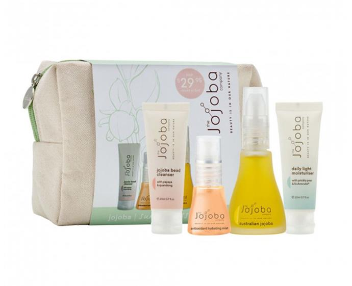 "**Jojoba Company Summer Essentials Gift Pack, $29.95 at [Priceline](https://www.priceline.com.au/brand/jojoba-company/jojoba-company-summer-essentials-gift-pack-4-piece|target=""_blank""