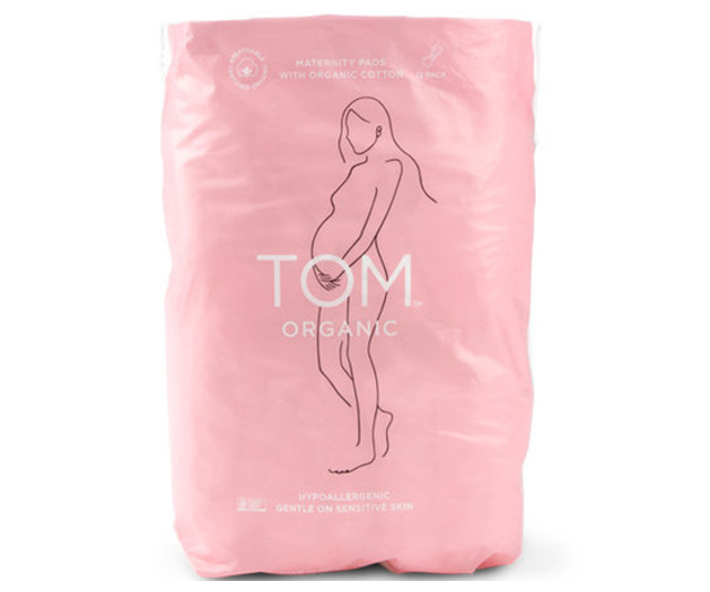 Maternity pads, like Tom Organic Maternity Pads are a sensible investment.