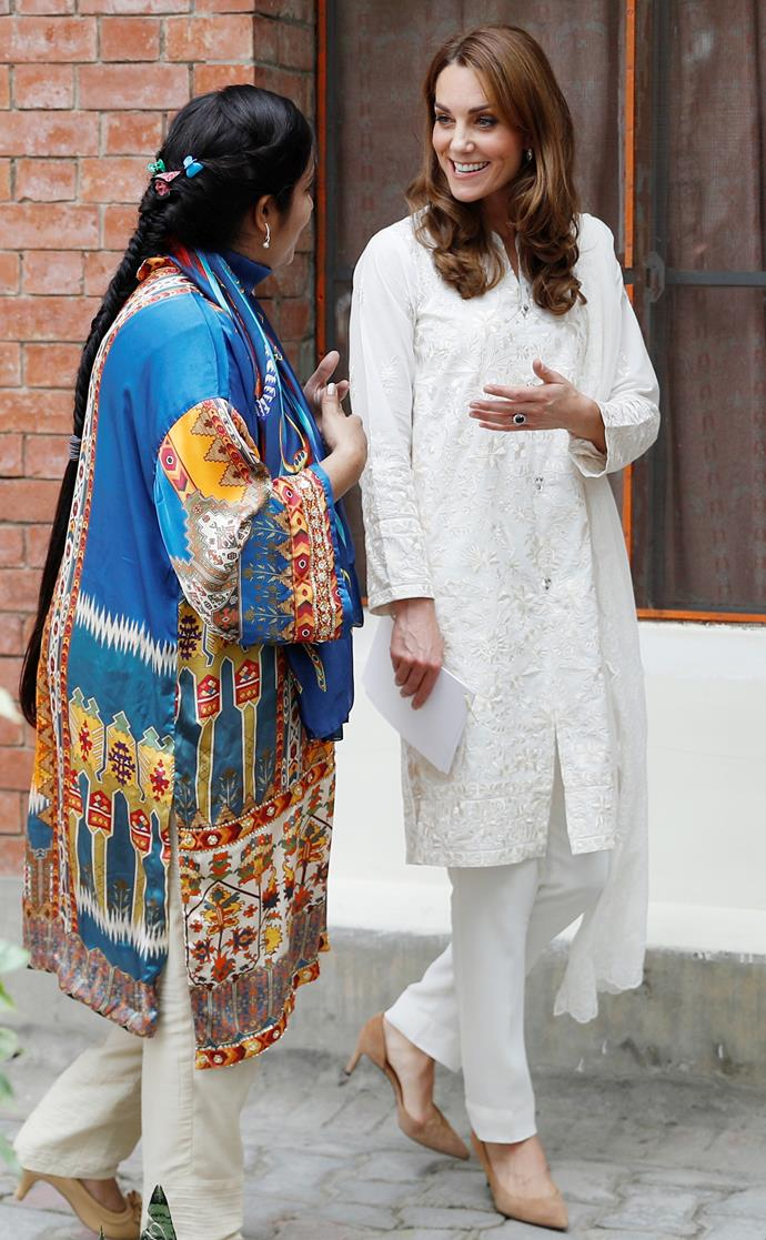 Earlier in the day, Kate wore a chic pair of suede heels with her beautiful shalwar kameez.