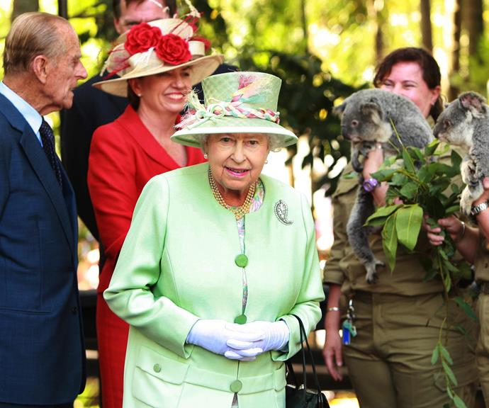 The Queen with Prince Philip (left) visiting the Rainforest Walk in Brisbane and former Queensland Premier Anna Bligh.